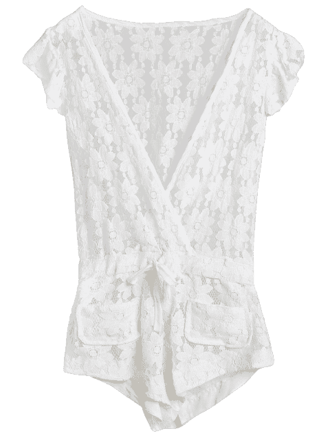 best Deep V Neck Crochet Flower Romper Cover-Up - WHITE L Mobile