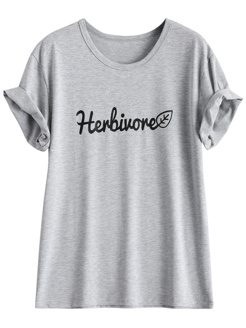 shops Short Sleeve Herbiuone Boyfriend T-Shirt - GRAY 3XL Mobile