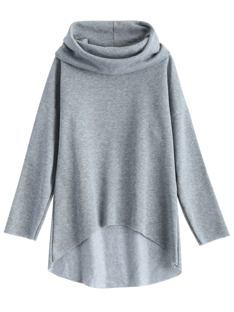 buy High-Low Tunic Hoodie - GRAY M Mobile