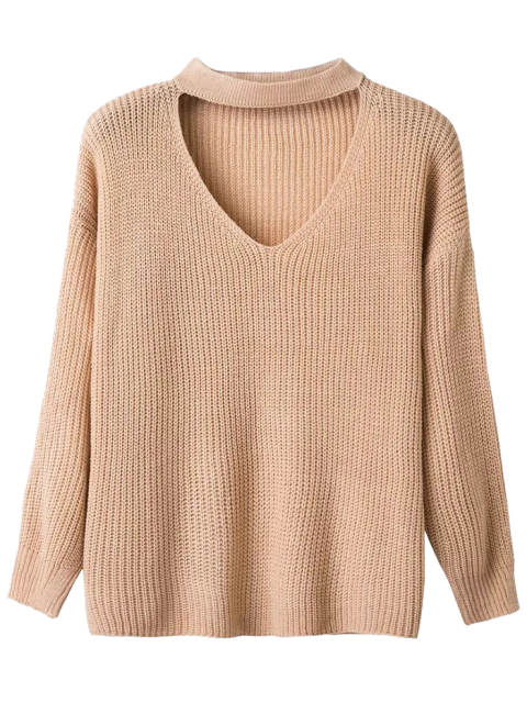 shop V Neck Ribbed Choker Sweater - KHAKI ONE SIZE Mobile