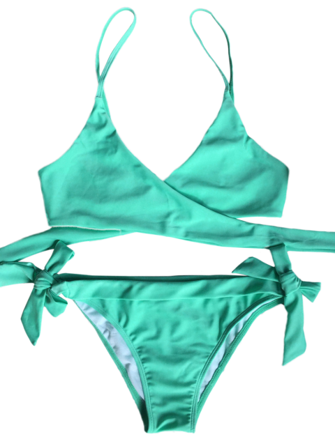 shops Wrap Tie Crossover Cami Bikini - LIGHT GREEN XL Mobile