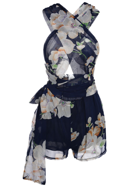 buy Plunging Neck Floral Print Self-Tie Romper - PURPLISH BLUE M Mobile