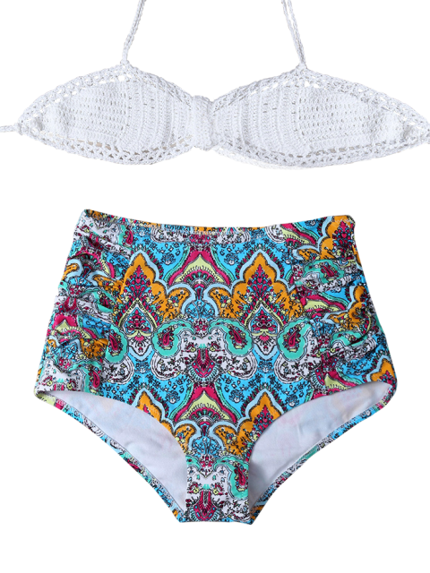 shop High Waisted Printed Multiway Bikini - MULTICOLOR XL Mobile