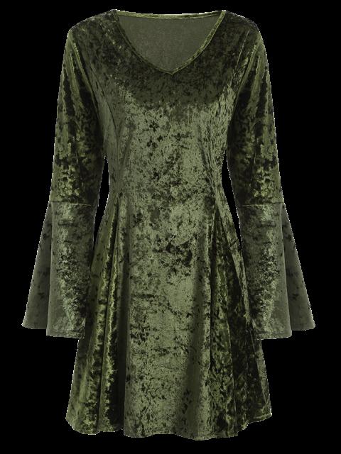 best Bell Sleeve Fit and Flare Velvet Dress - GREEN S Mobile
