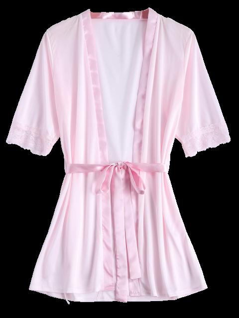 shop Belted Lace Insert Sleepwear - PINK L Mobile