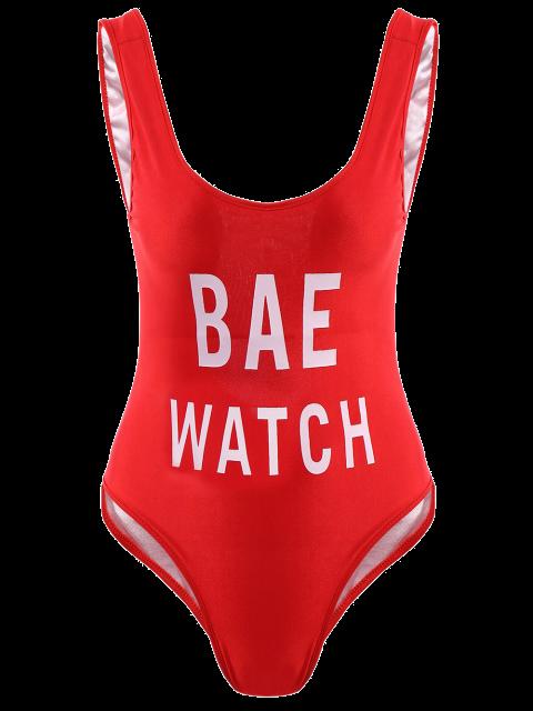 women Letter Print One-Piece Swimwear - RED S Mobile
