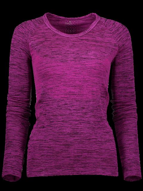 fancy Long Sleeve Space Dye Running Top - PURPLISH RED M Mobile