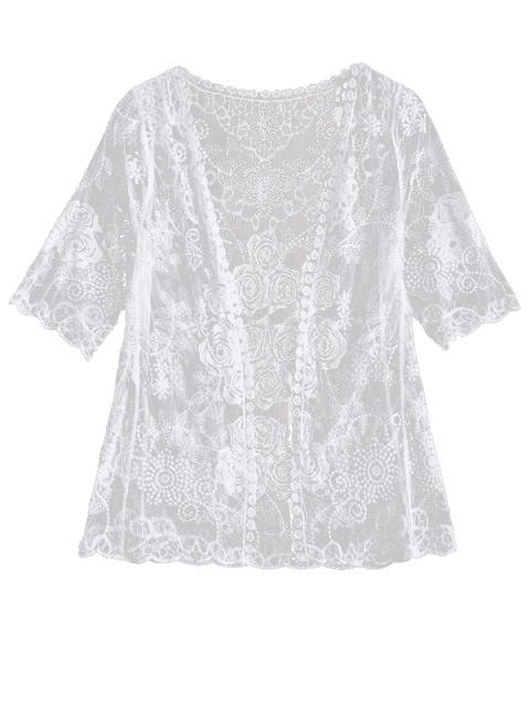 outfits Sheer Lace Cover Up - WHITE ONE SIZE Mobile