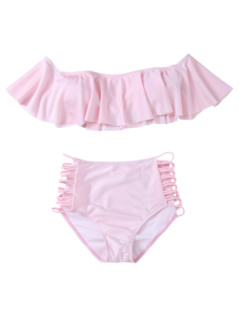 women Padded Ruffles Top With Cutout Briefs Bikini - PINK M Mobile