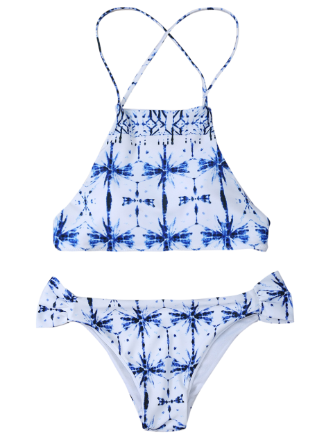 chic Print Criss Cross Bikini Set - WHITE S Mobile