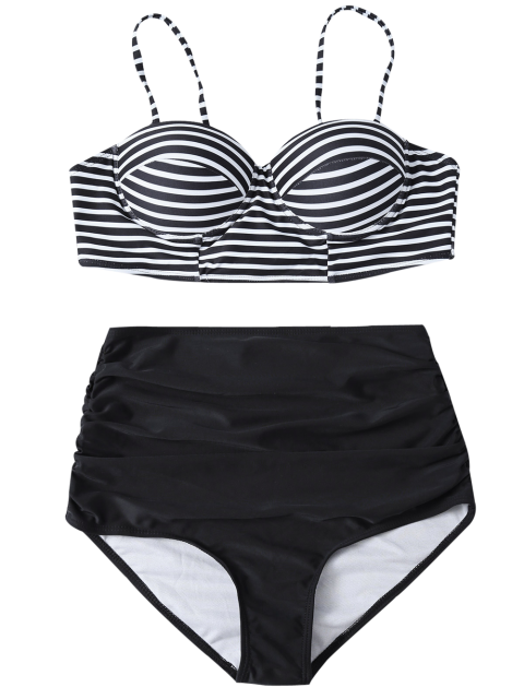 buy High Waist Striped Bikini Set - BLACK S Mobile