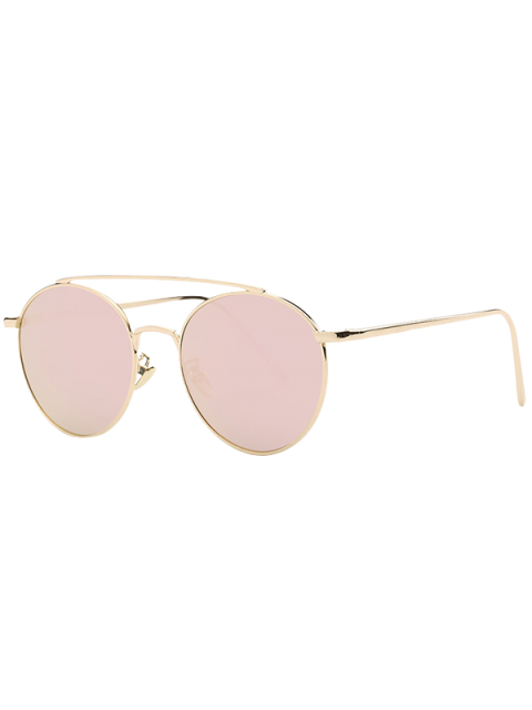 chic Metal Frame Mirrored Sunglasses - ROSE GOLD  Mobile