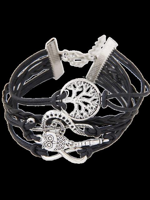 women's Tree of Life Owl Braided Bracelet - BLACK  Mobile
