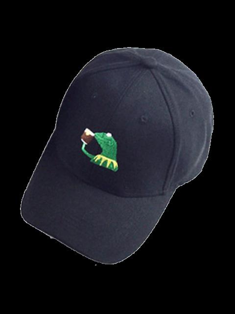 trendy Cartoon Frog Embroidery Baseball Hat - BLACK  Mobile
