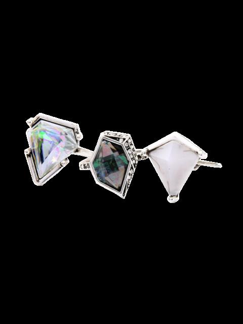 fashion Geometric Faux Gem Ring Set - SILVER  Mobile