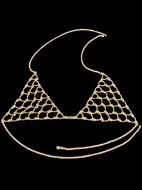 shops Rhinestone Bra Triangle Body Jewelry - GOLDEN  Mobile