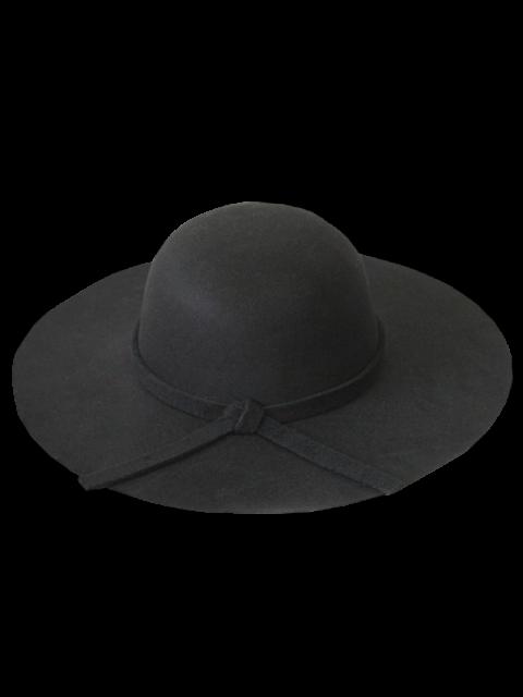 women Solid Color Felt Floppy Hat - BLACK  Mobile