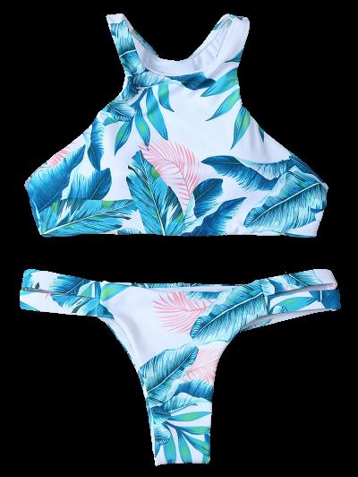 Palm Tree High Neck Bikini Set - WHITE L Mobile