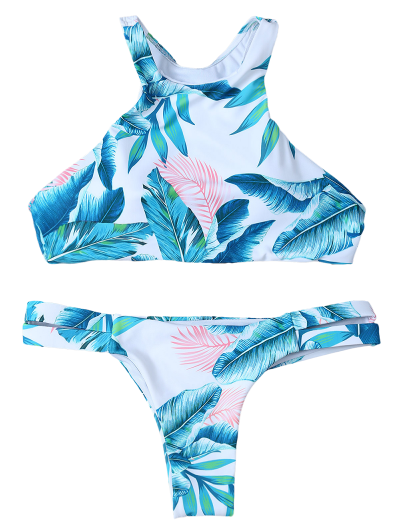 Palm Tree High Neck Bikini Set - WHITE S Mobile