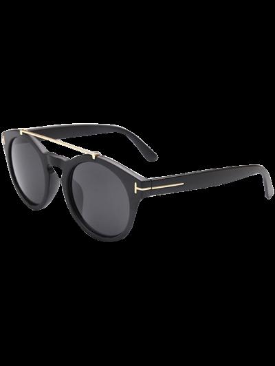 Alloy Embellished Matte Black Sunglasses - BLACK  Mobile