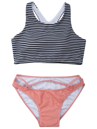 Striped High Neck Cutout Bikini Set - ORANGEPINK XL Mobile