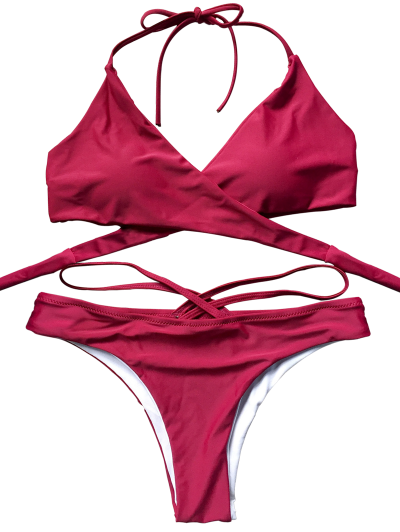Double Side Crossover Bikini Set - RED S Mobile