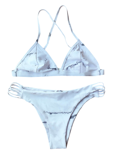 Cutout Double Side Bikini Set - WHITE L Mobile