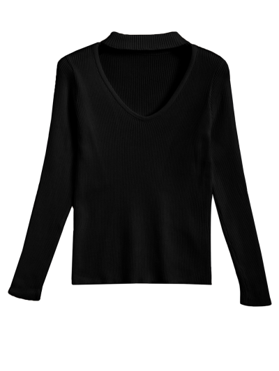Ribbed Cut Out Choker Jumper - BLACK XL Mobile