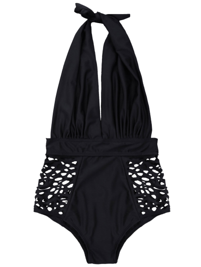 High Waisted Plunge Neck Hollow Out Tummy Control Swimsuit - BLACK M Mobile