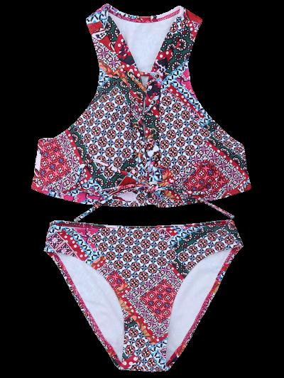Patterned Lace Up Bikini Set - COLORMIX S Mobile