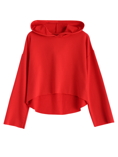 Cropped High Low Hoodie - RED XS Mobile