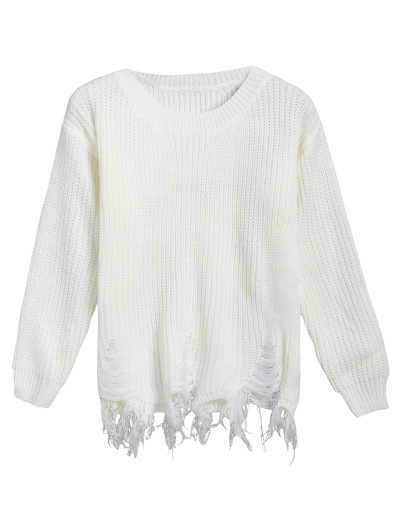 Fringed Ripped Sweater - OFF-WHITE ONE SIZE Mobile