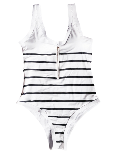 Zip Front Striped Swimsuit - WHITE AND BLACK L Mobile