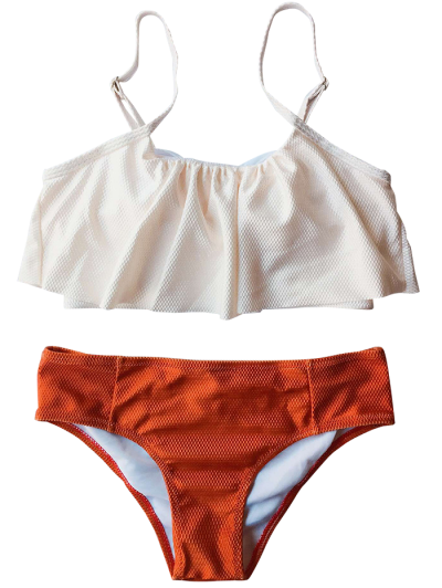 Color Block Covered Bikini Set - RED XL Mobile