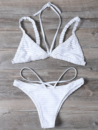 Strappy Bralette Swimsuits - White