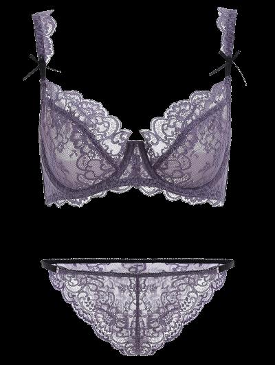 Bowknot Scalloped Lace Bra Set - PURPLE 75A Mobile