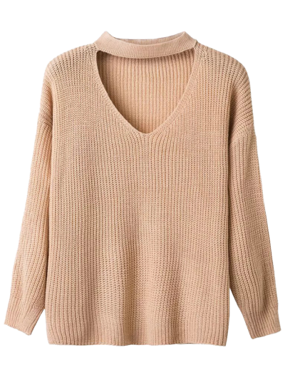 V Neck Ribbed Choker Sweater - KHAKI ONE SIZE Mobile