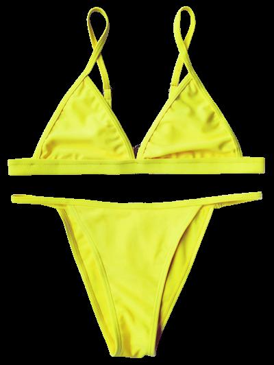Tiny Unlined String Bikini Set - YELLOW L Mobile