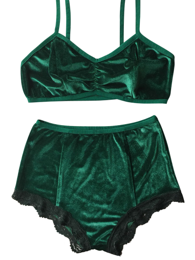 Lace Hem High Waisted Velvet Bra Set - BLACKISH GREEN S Mobile