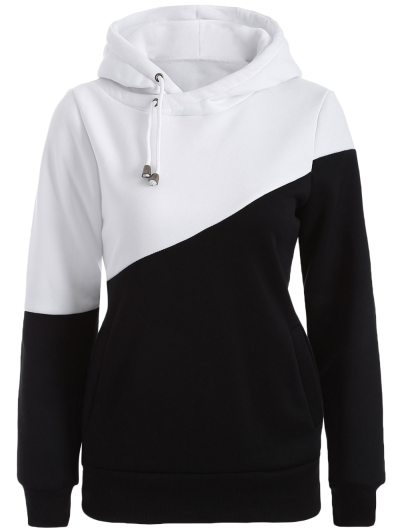 Casual Color Block Hoodie - WHITE AND BLACK L Mobile