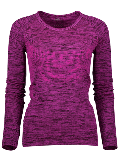 Long Sleeve Space Dye Running Top - PURPLISH RED L Mobile