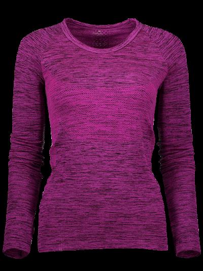Long Sleeve Space Dye Running Top - PURPLISH RED S Mobile