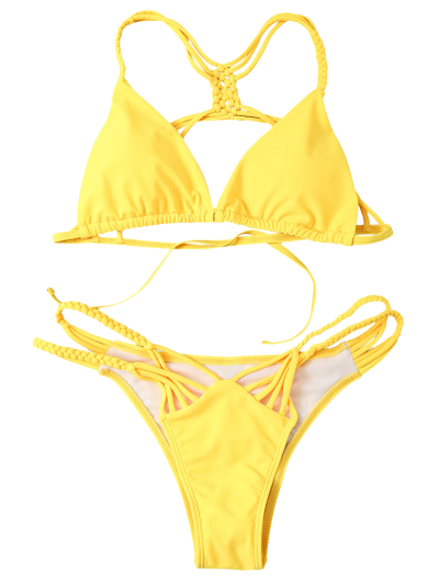 Strappy Cut Out Bikini Set - YELLOW S Mobile