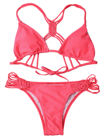 String Cut Out Strappy Bikini Set - RED S Mobile