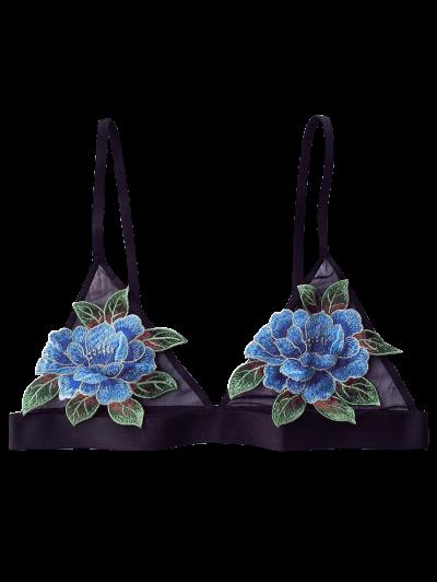 Floral Applique Mesh Plunge Bra - BLACK 90D Mobile