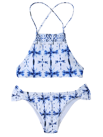 Printed Cross Criss Bikini Set - WHITE S Mobile