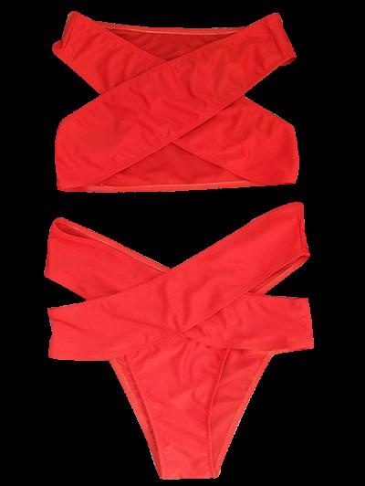 Cut Out Bandage Bikini Set - RED L Mobile