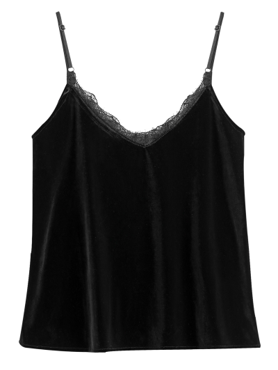 Lace Trimmed Velvet Cami Top