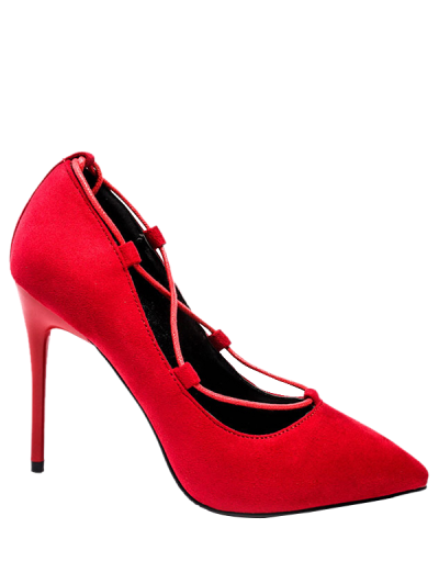 Cross-Strap and Flock Pointed Toe Pumps - RED 39 Mobile