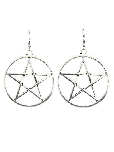 Star Circle Earrings - SILVER  Mobile
